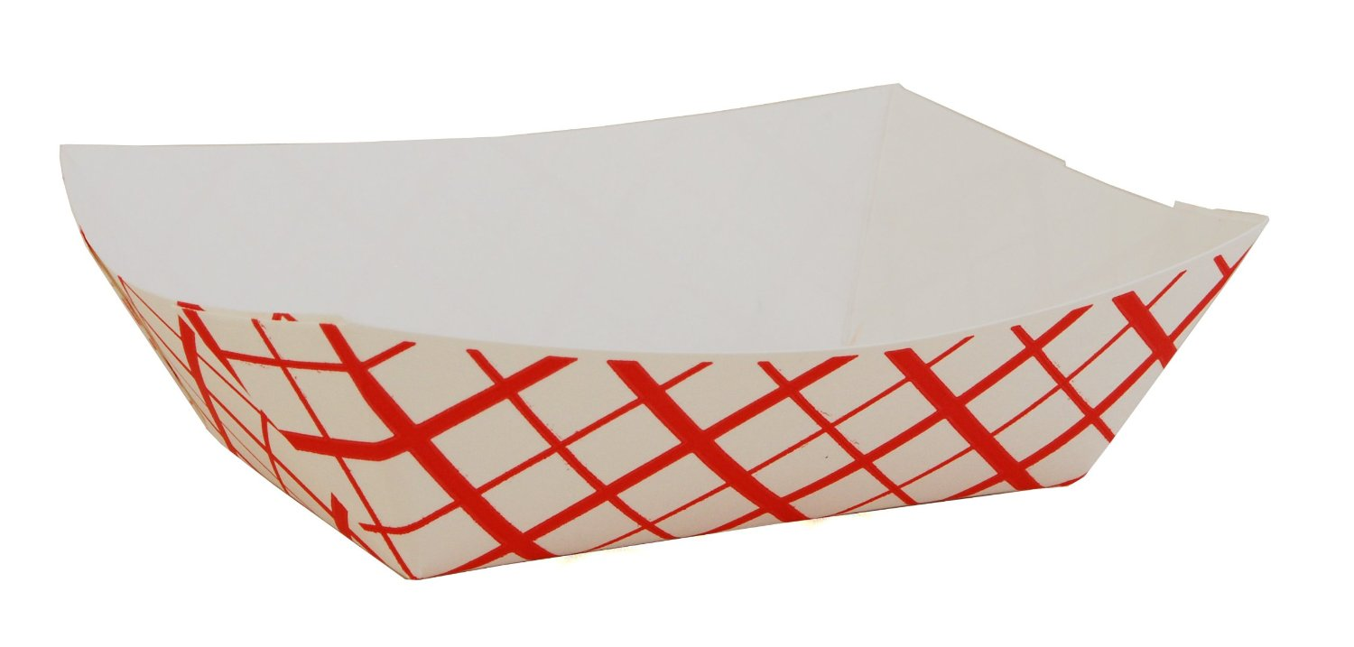 8155/0429/8705 #500 Red Check Paper Food Trays - 500(2/250)