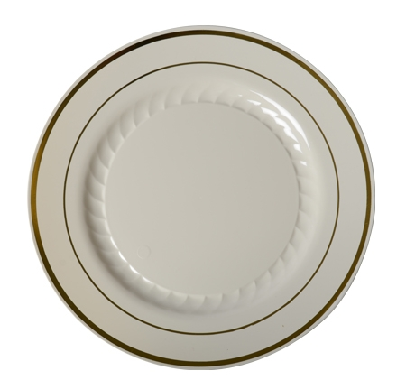 "509-BO Ivory 9"" Plates With Gold Trim - 120(10/12)"