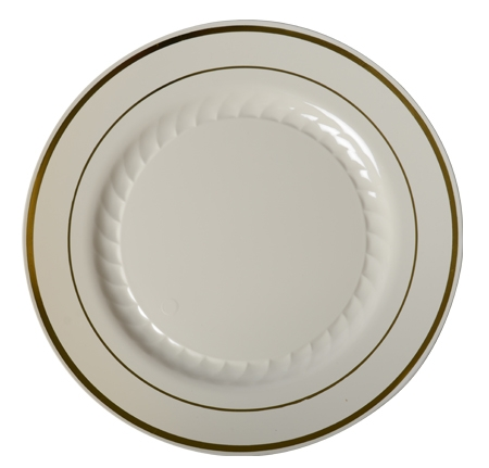 "510-BO Ivory 10"" Plates with Gold Trim - 120 (10/12)"