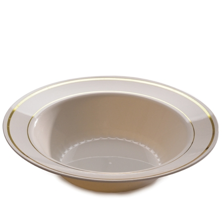 512-BO Ivory 12 oz. Bowls with Gold Trim - 150(10/15)