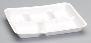 10500 White 5-Comp Foam School Lunch Trays - 500