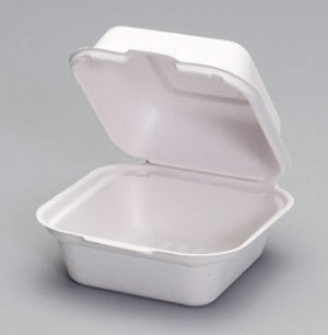 HF225 Medium 1-Comp Hinged Fiber Sandwich Container -