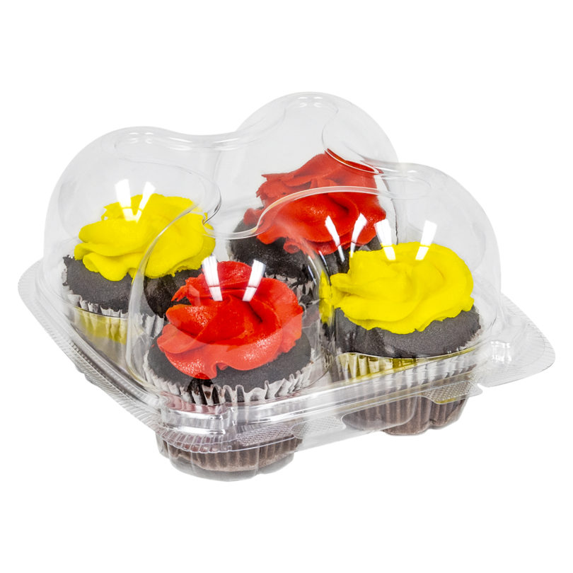 IP404 Clear PET 4-Count Cupcake Container - 225