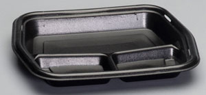 50310-3L Large 3-Comp Black Smart Set Foam Serving Tray -