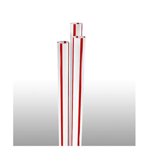 "STNJM1970713 Red Stripped 7.75"" Unwrapped Jumbo Straws"