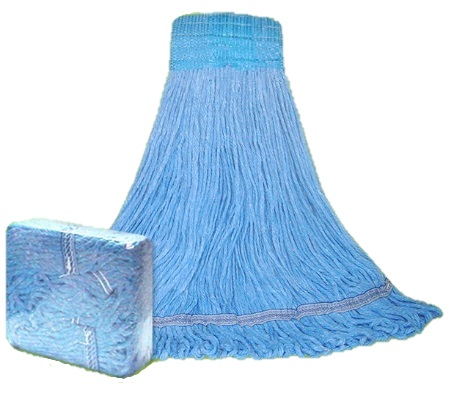 CLM-303LWB Large Blue 4 Ply Blended Launderable Mop - 1