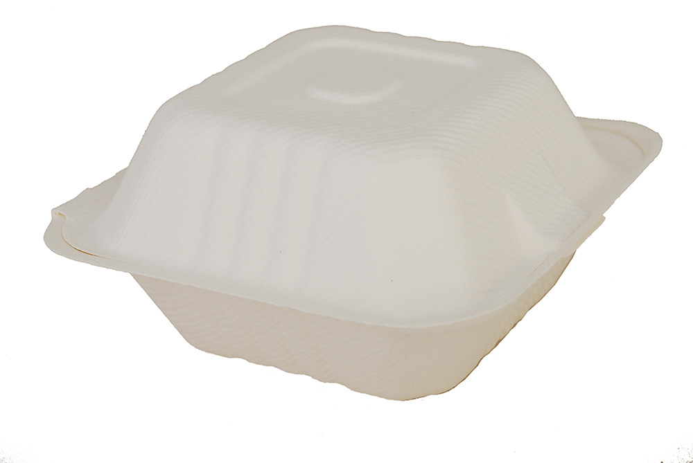 "18905/42SH6  White 6"" Molded FiberHinged Containers-"