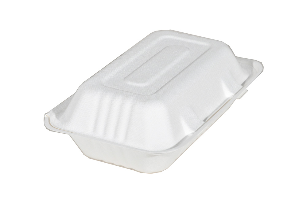 "18946 White 9""x6"" Molded Fiber Hinged Containers - 250"