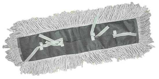 "DD-91524W White 24"" x 5"" Tie-On Dust Mop Head - 1"