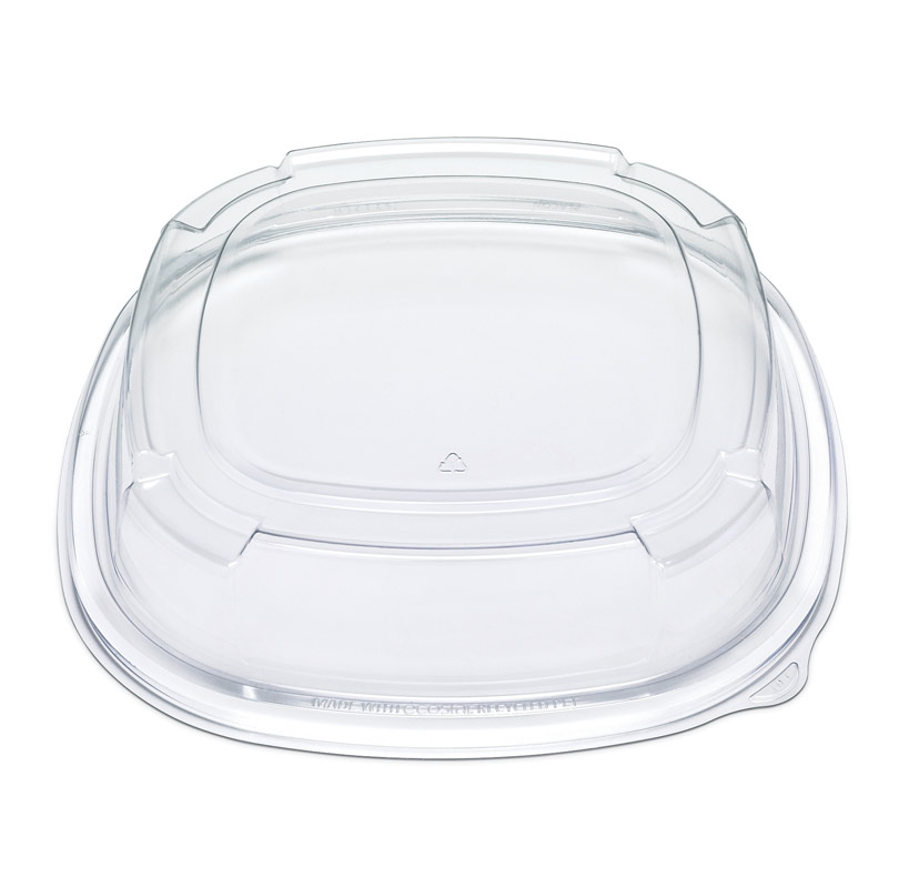 "ST12LH Clear PET 12"" High Dome Catering Lid - Cold - 50"