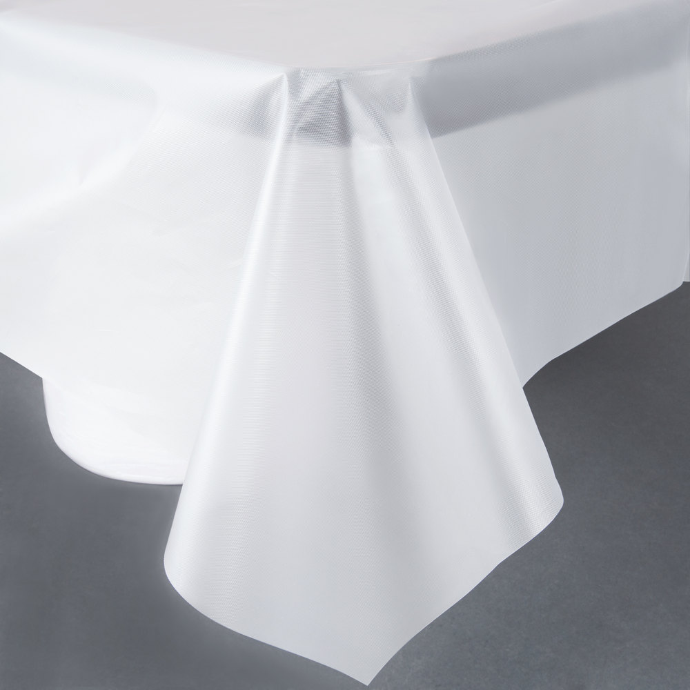 01-255 White 54x108 Plastic Table Covers - 12