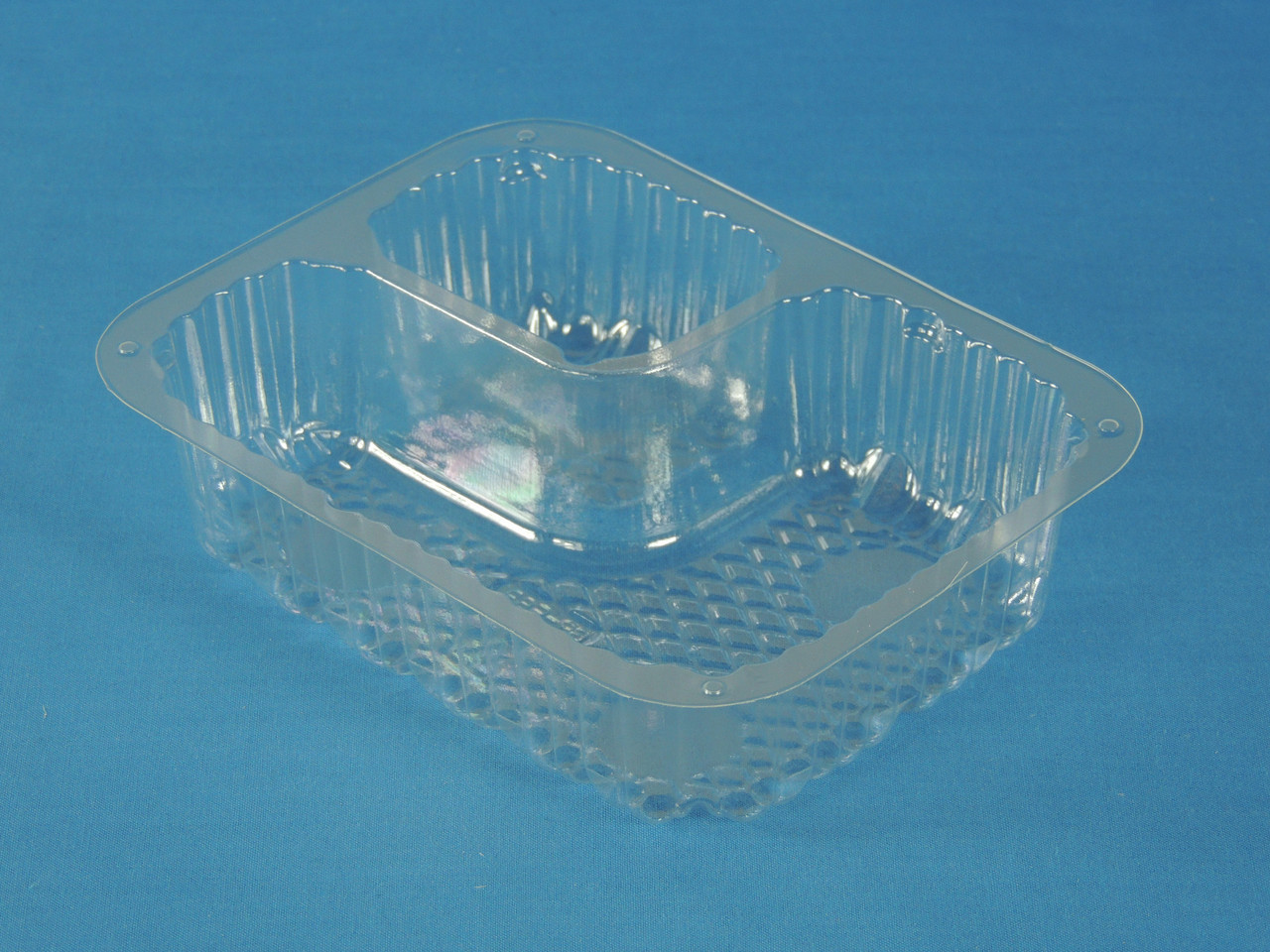 "C56NT2 Clear Small 2 Comp. Nacho Tray (6"" x 5"") -"