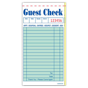 GC60002BK Guest Check 50 Page 17 Line Green Intercarbon
