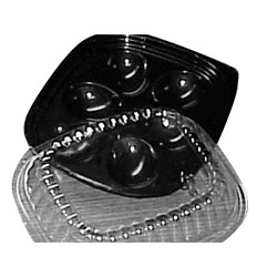 I15P Black 6 Ct. Deviled Egg Trays with Dome Lid - 416