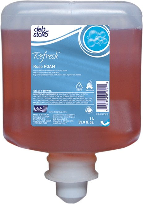 RFWILO Refresh Rose Foam Soap 1L Orange Tip - 6(6/1 Liter)