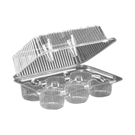 LBH-6646 Clear 6 Count Muffin/Cupcake Hinged