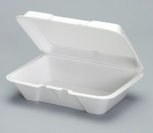 20500 Large White 1-Comp Foam Hinged Containers