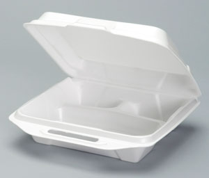 20310-V Large Vented White 3-Comp Foam Hinged Container