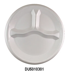 "DU5010301 White 10.25"" 3 Comp. Unlaminated Foam Plates -"