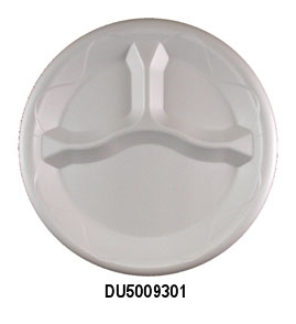 "DU5009301 White 9"" 3 Comp. Unlaminated Foam Plates -"