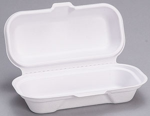"HF211 White Molded Fiber Hot Dog Container( 7.4"" x 3.8"" x"