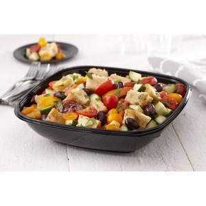 94160B50 160 oz. Black Square Bowls - 50