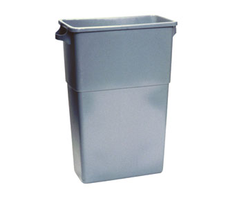 7023-3 Gray 23 Gallon Thin Bin Trash Container - 1
