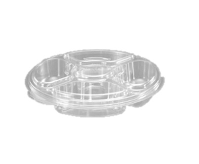 PL042C Clear 5 Comp. Snack Party Platters with Lid Combo