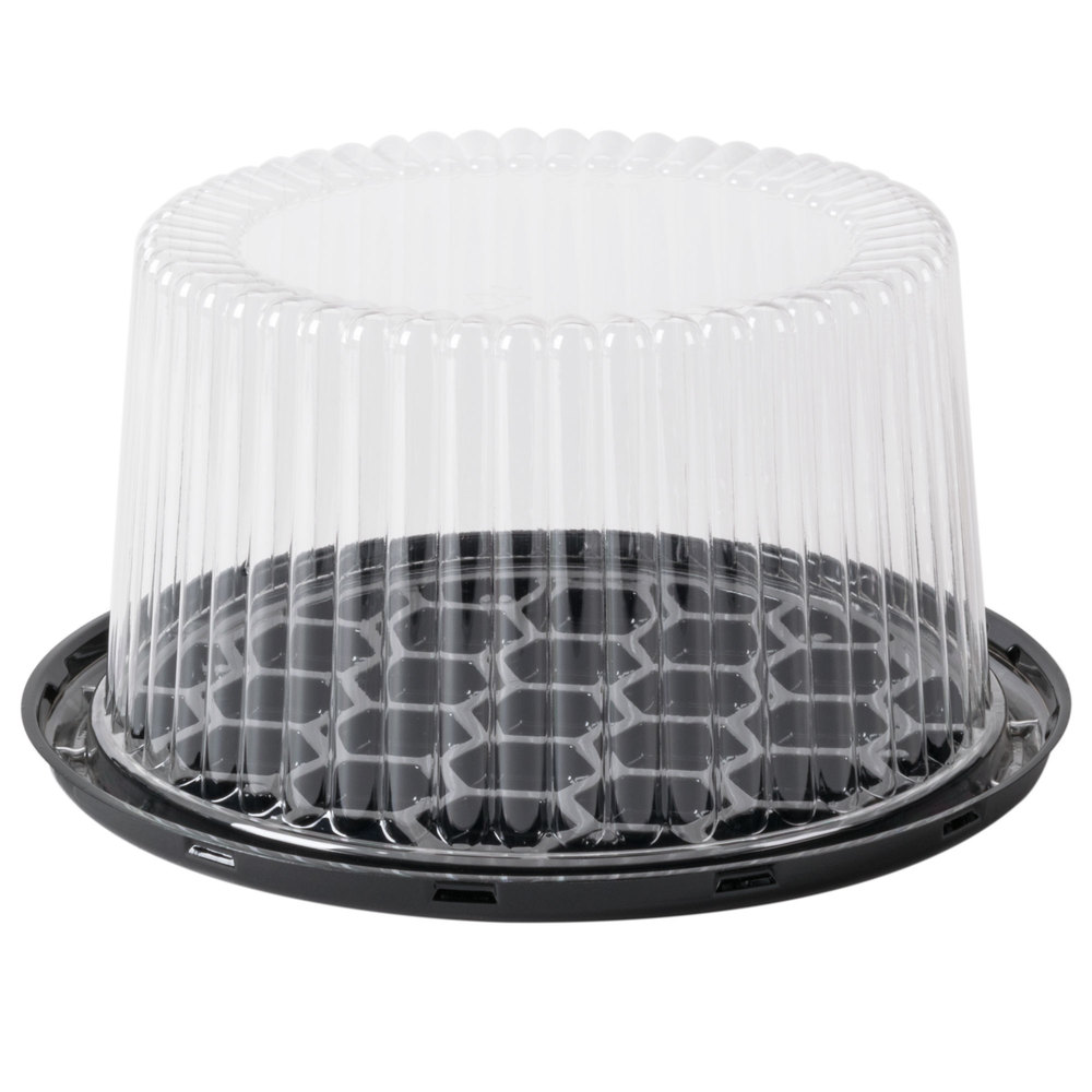 "G21-1 Black 7"" Deep Cake Base with Dome Lid - 180"