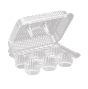 SLP46 Clear 6 ct. Hinged Muffin Containers - 300