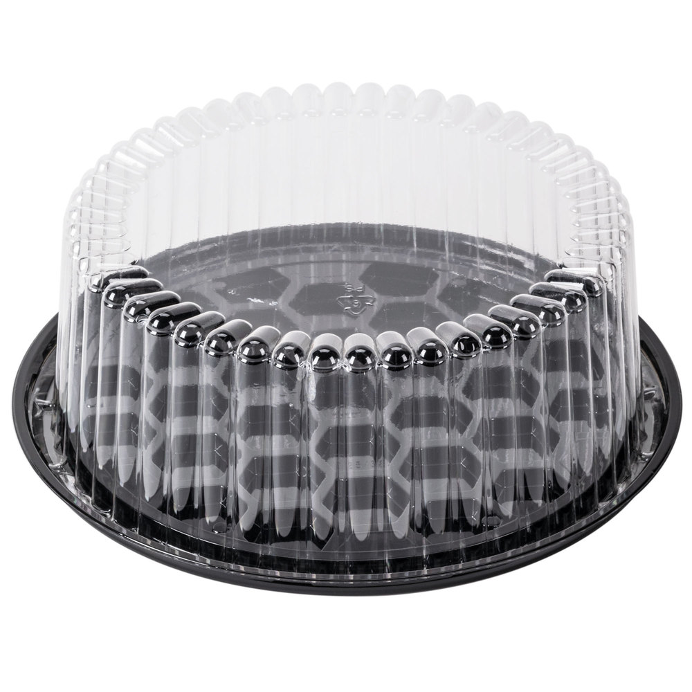 "G22-1 Black 8"" Shallow Cake Base With Dome Lid - 160"