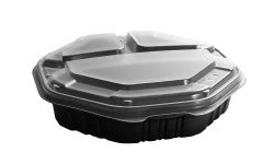 "809014-PP94 OctaView 9"" Hinged Carryout 3 compartment"
