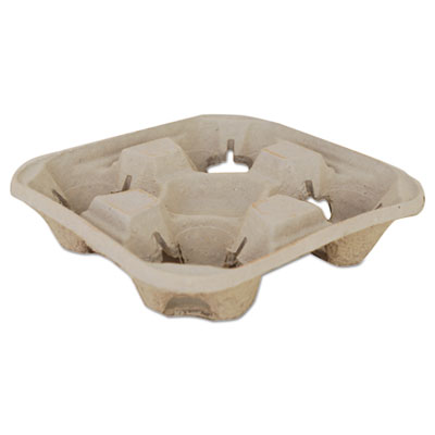 0117 Beige 4 Cup Molded Fiber  Drink Carrier - 300(4/75)
