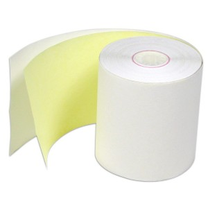 "4005 3"" x 100'  Credit Card 2 Ply Carbonless 2pc Yellow"