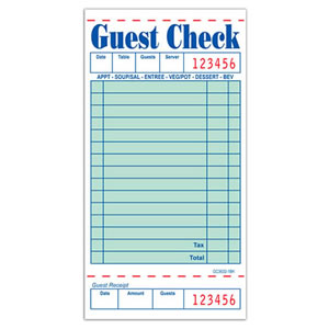 GC36321BK Guest Check 50 Page - 15 Line Green Booklets