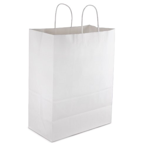 "84642 White 65# 13"" x 7"" x 17"" Handle Shopping Bags - 250"